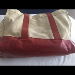 Tory Burch tote bag in beige and red leather
